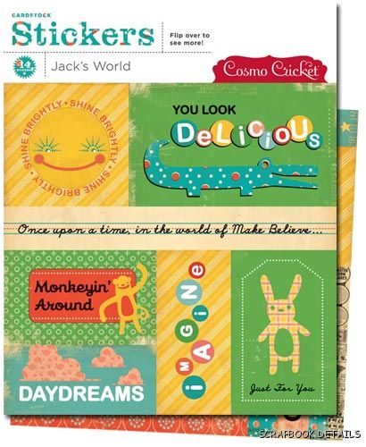 Cosmo Cricket Jack's World Carstock Stickers-cosmo cricket, jack's world cardstock stickers, scrapbooking, embellishments