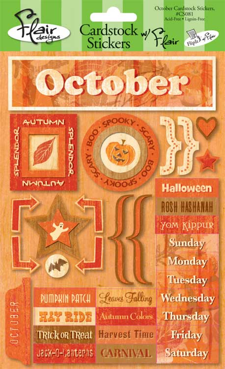 Flair October Days Cardstock Stickers-flair, october days, cardstock stickers, scrapbook, embellishments