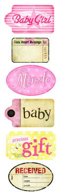 Daisy D's Baby Girl Nursery Tags Rub Ons-daisy d's, daisy ds, baby girl nursery tags, rub ons,  scrapbooking, embellishments