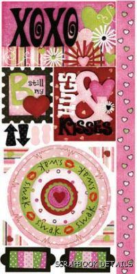 Bo Bunny XOXO Cardstock Stickers-Bo Bunny, xoxo, kids, valentine, cardstock stickers, scrapbooking, embellishments, love