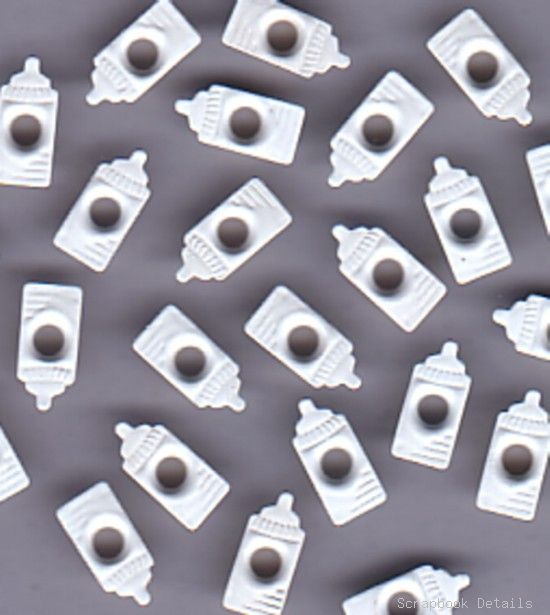 White Baby Bottle Eyelets (W)-white baby bottle eyelets, scrapbooking, embellishments, card making, baby shower