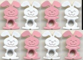 Pink & White Bunny Eyelets (W)-bunny eyelets, card making, scrapbooking embellishments, easter