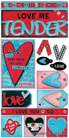 Bo Bunny Love Me Tender Cardstock Stickers-Bo Bunny, love me tender, valentine, love, cardstock stickers, scrapbooking, embellishments