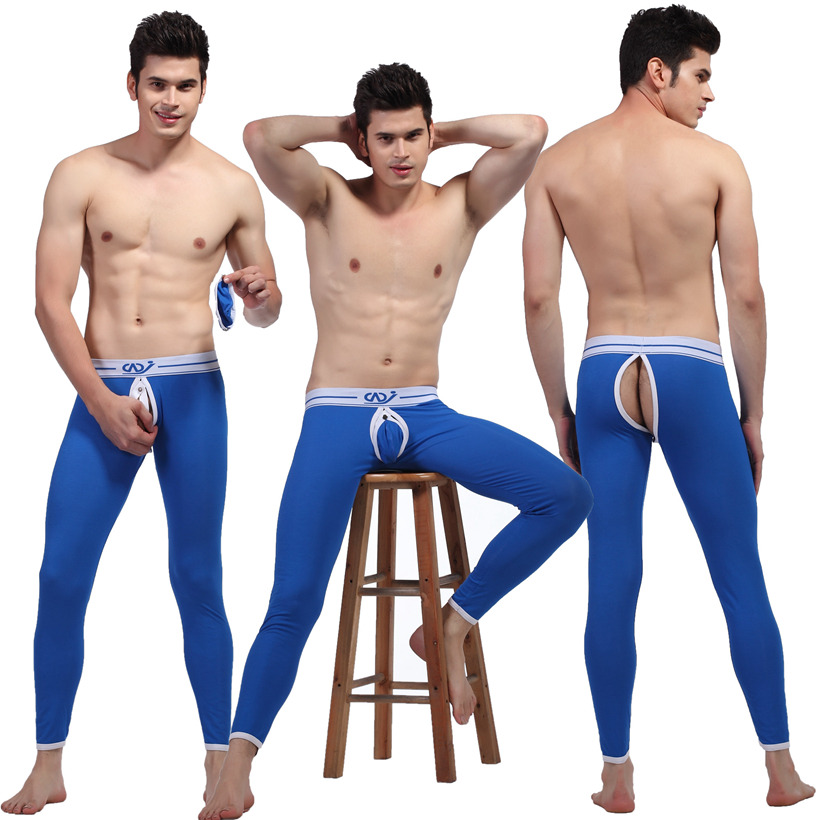 Men's Sexy Hip Empty Warm Pants Removable Pouch Long Johns ...