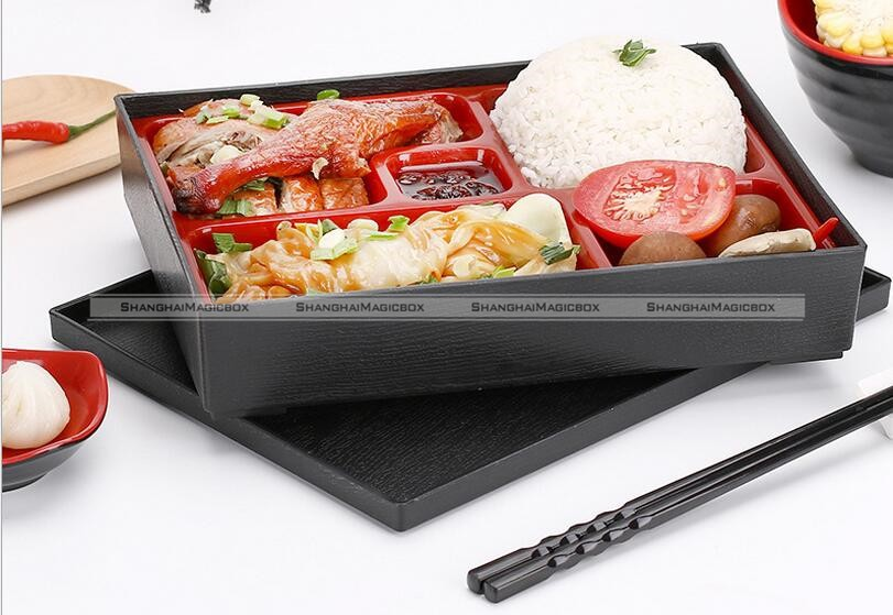 japanese black red lacquered bento lunch box ebay. Black Bedroom Furniture Sets. Home Design Ideas