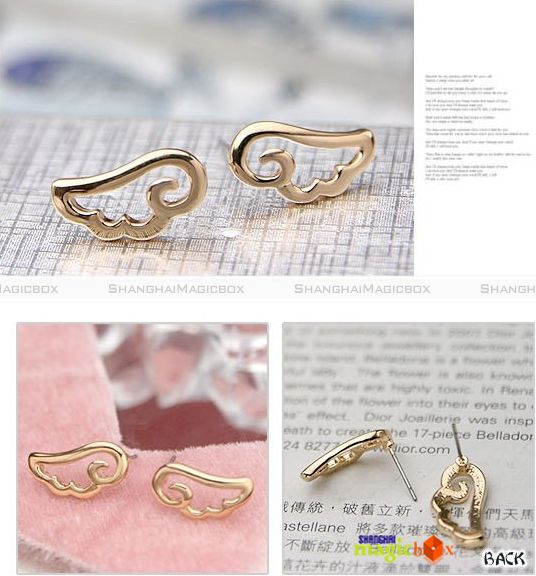 Women Fashion Angel Wings Design Ear Pin Earring Golden Silvery New