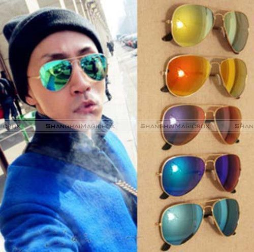 aviator mirror sunglasses  Women Men Aviator Mirror Sunglasses Shades Golden Metal 4 Colors ...