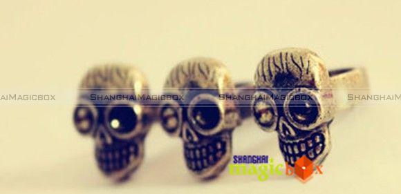 Women Fashion Vintage Punk Skull Skeleton Head Double Ring Brass Color
