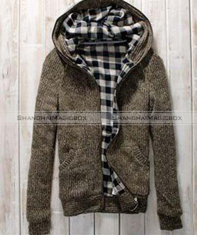 Men Fashion Vintage Lattic Checked Hooded Slim Sweater Coat Jacket
