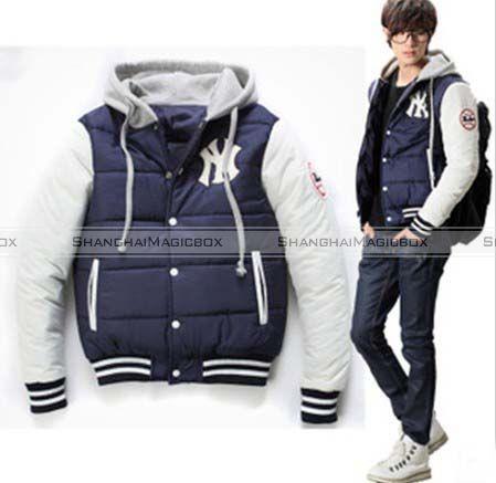 Men Sports Vintage Hooded NY Winter Coat Baseball Jacket Outwear ...