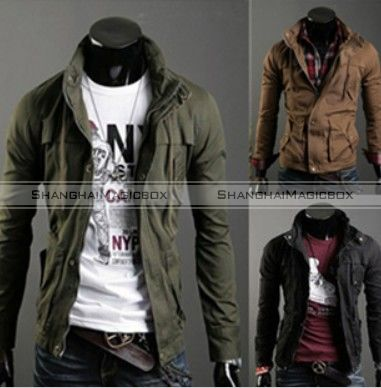 Men New Vintage Slim Military Style Trench Coat Jacket Outwear SM3 ...