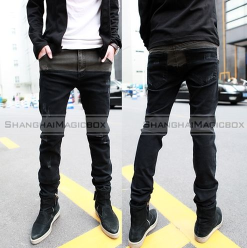 Men-Fashion-Casual-Slim-Fit-Denim-Pencil-Jeans-Trousers-Pants-Black-New-MPT077