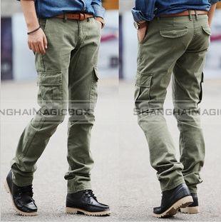 Men Fashion Casual Straight Long Pants Overalls Trousers Khaki ...