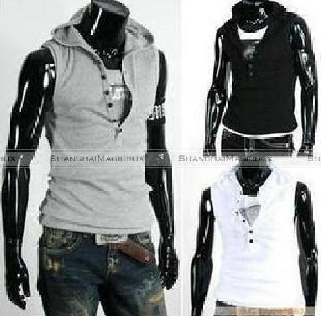 H2H Mens Fashion Lightweight Sleeveless Basic Hoodies Zip-up with