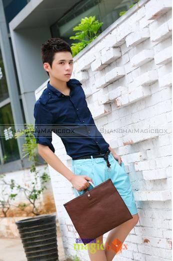 Women Men Fashion PU Leather Envelope Shoulder Bag Tote Beige Brown