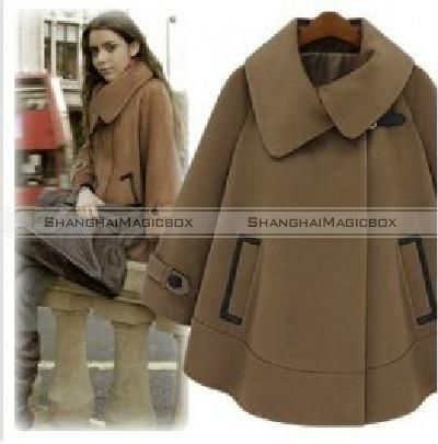 New Fashion Women Stylish Coat Batwing Sleeve Cape Cloak Coat Brown WCOT142