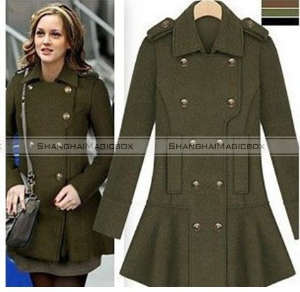 Women Fashion Vintage Double Breasted Military Style Coat Outwear ...