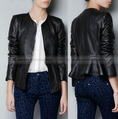 Women Fashion Motorcycle Collarless Faux Leather Jacket Overcoat