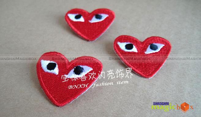 New Women Men Fashion Red Heart Brooch Button Badge Pin