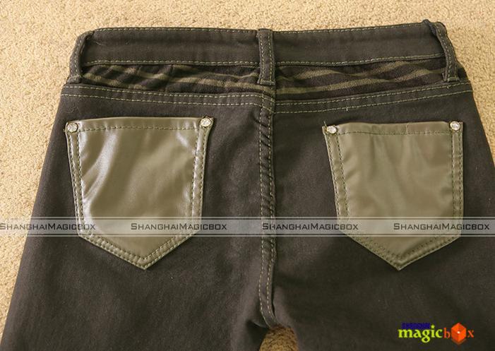 Women Fashion Slim Fit Faux Leather Pencil Jeans Pants Trousers 2