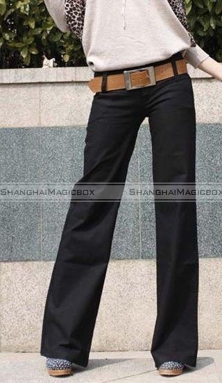 Women Lady Fashion Vintage Wide Leg Slim Casual Pants Trousers Large
