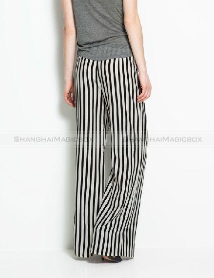 2013 women fashion stripe high waist wide leg palazzo