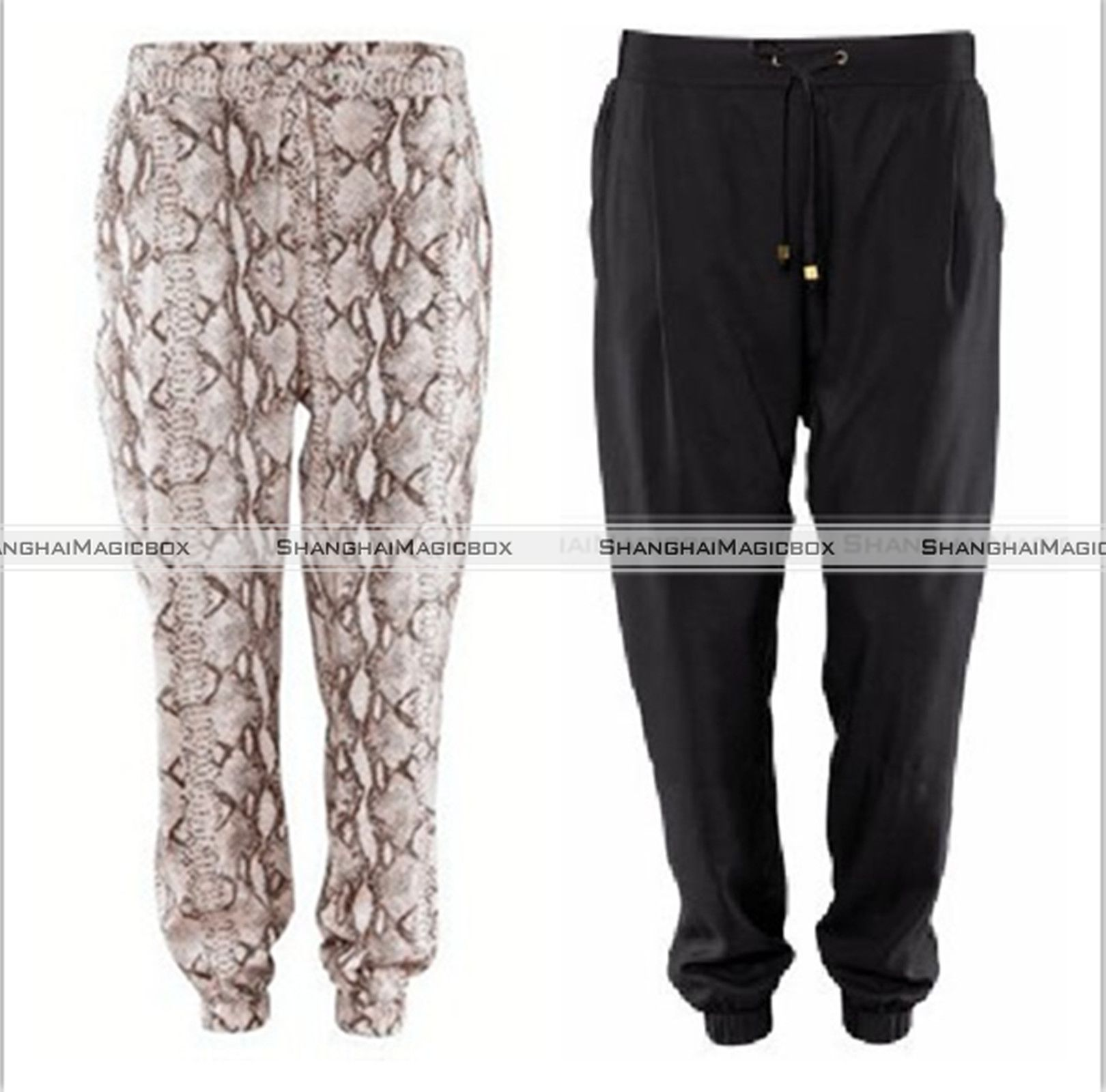 Women Fashion Vintage Snake Skin Pattern Black Harem Loose Pants ...