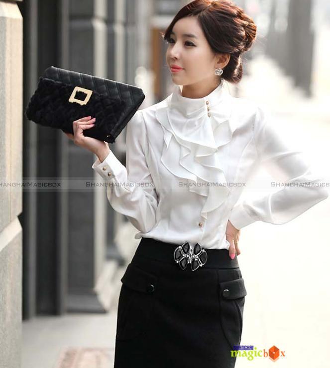 Women Fashion Long Sleeve Shirt Blouse Top Ruffle Stand Collar 4