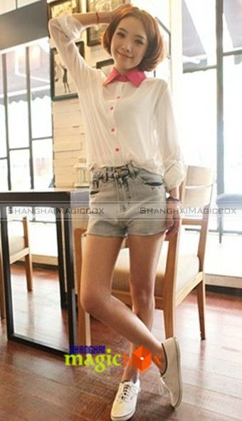 Women Fashion Vintage Sweet Cute Rose Collar Chiffon Blouse Shirt Top