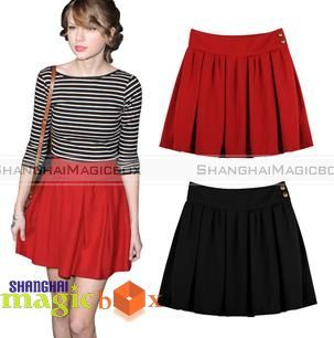 Women-Fashion-Vintage-Pleated-Hot-Short-Skirt-Black-Red-High-Waist-SM3-WSKT124