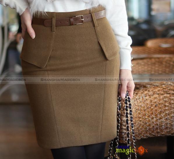Women Fashion Winter Pencil Knee Formal Short Skirt Black Grey ...