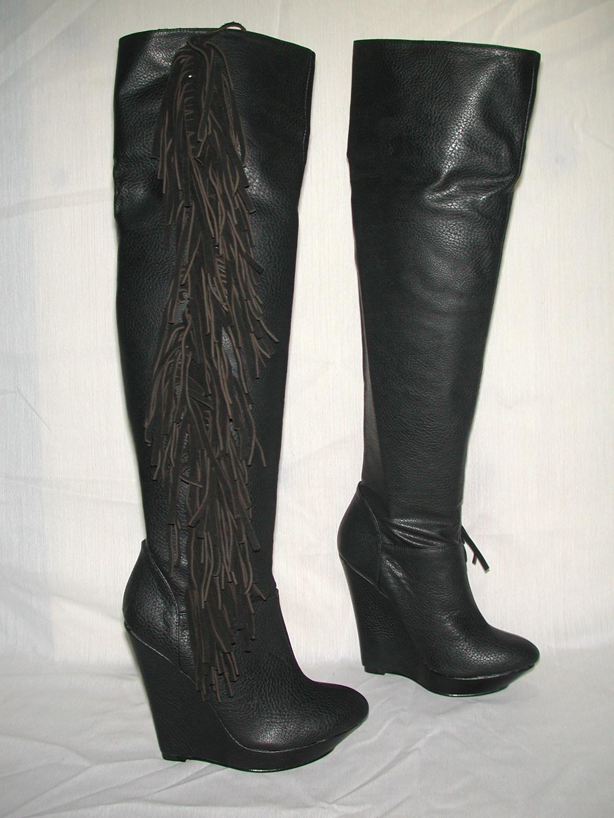 colin stuart 158 slouchy fringe wedge heel boots black 5