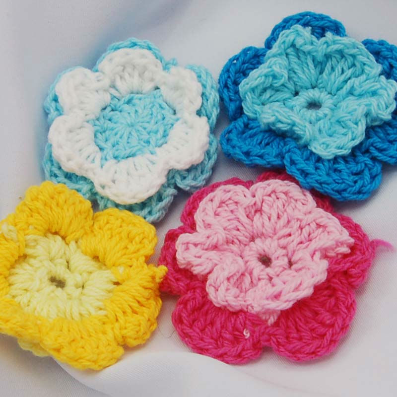 20pcs-2-Tier-Mixed-Crochet-Flower-for-Sewing-Craft