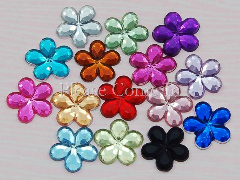 200-Flower-Rhinestones-Scrapbooking-Craft-10mm-Mixed