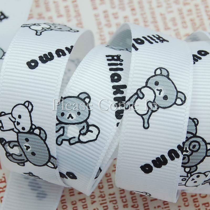 5m-Grosgrain-Ribbon-White-Rilakkuma-Bear-16mm-5-8