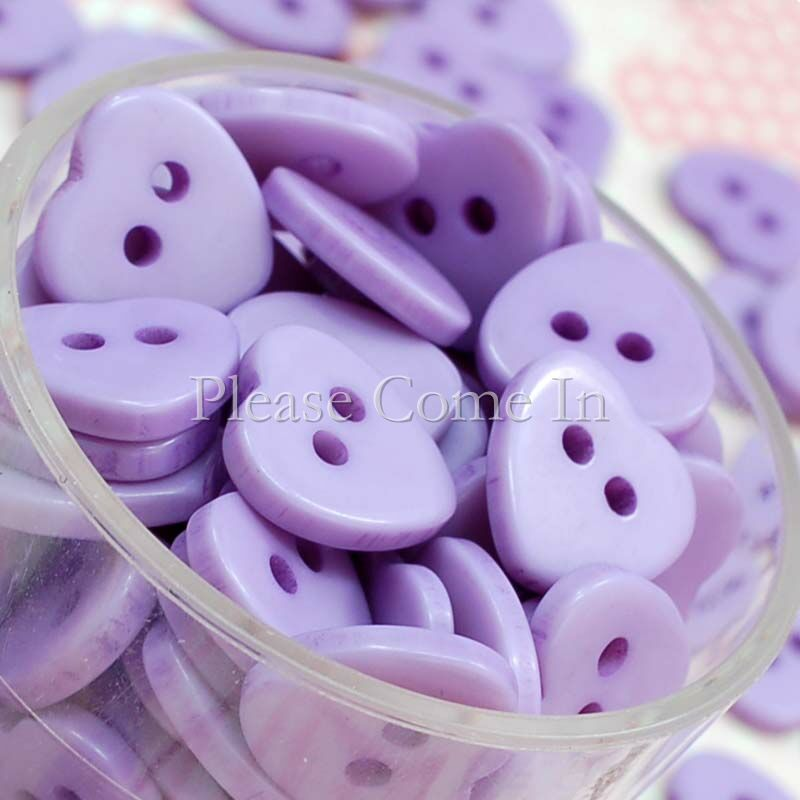 100-Lavender-Heart-Button-11mm-Scrapbooking-Sewing