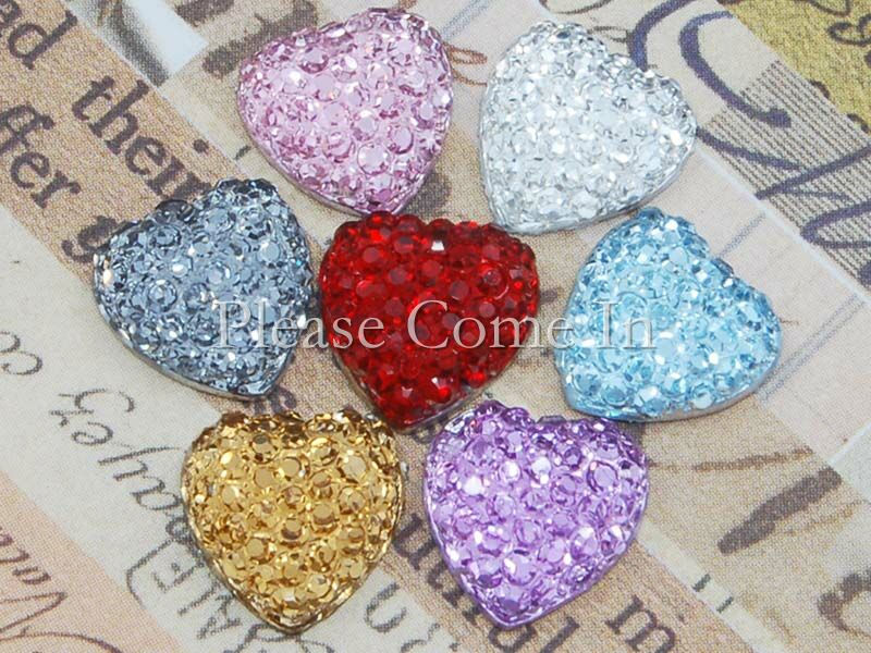 50-Icy-Heart-Rhinestone-10mm-Scrapbooking-Mixed-Colours