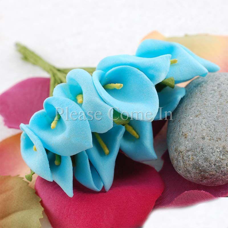144 mini calla lily flower wedding scrapbooking blue ebay. Black Bedroom Furniture Sets. Home Design Ideas