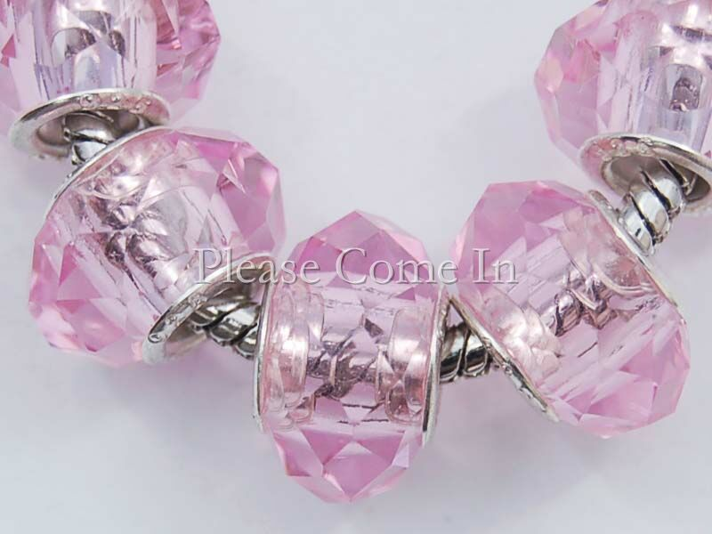 5-Lampwork-Glass-Faceted-Beads-Fit-Bracelet-Baby-Pink