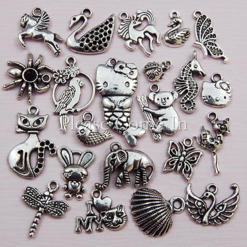 44-Silver-Toned-Metal-Animal-Charm-Pendant-Mixed