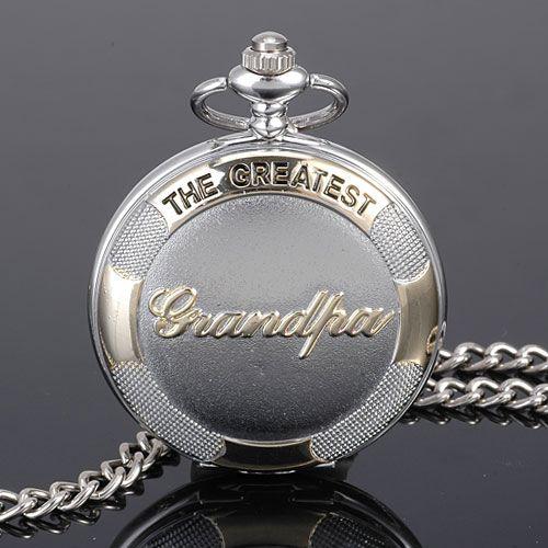 Silver-Chain-DAD-GRANDPA-Pattern-Quartz-White-Dial-Pocket-Watch-Fathers-Day-Gift
