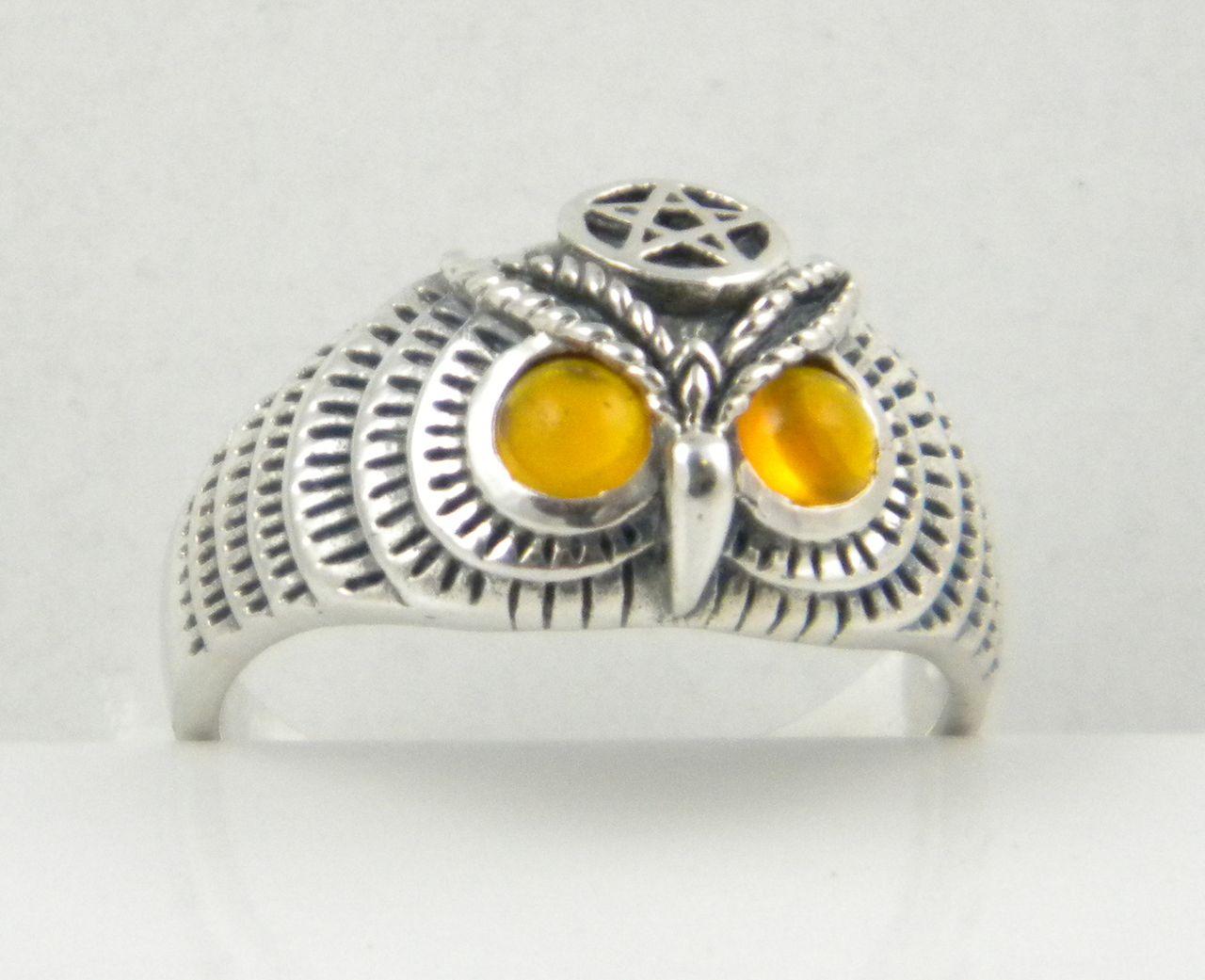 Sterling-Silver-OWL-RING-Pentagram-AMBER-Eyes-NEW