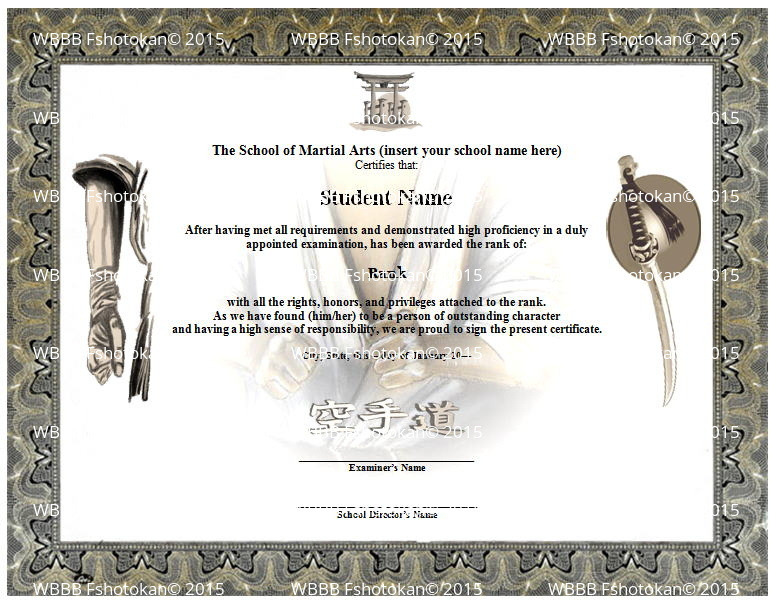 Ready stance martial arts karate rank belt certificate template cd ebay for Martial arts certificate template