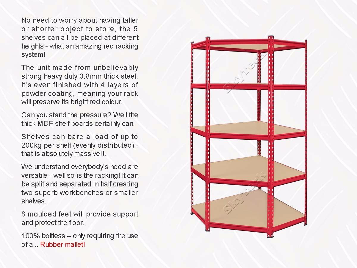 0.9M Corner Racking Garage Shelving Storage Units Heavy Duty Metal ...