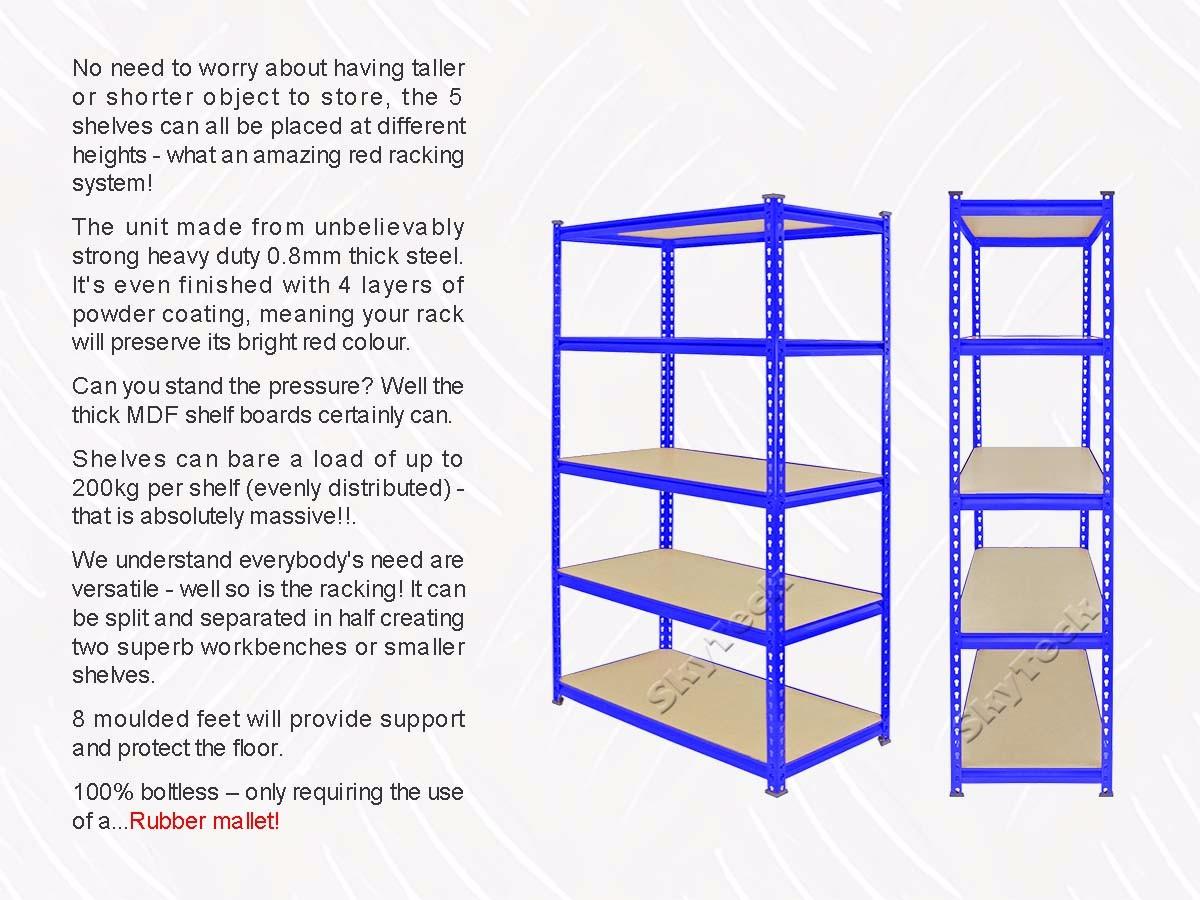 1.2M Steel Warehouse Racking Storage hotel Shelf Garage Shelving ...