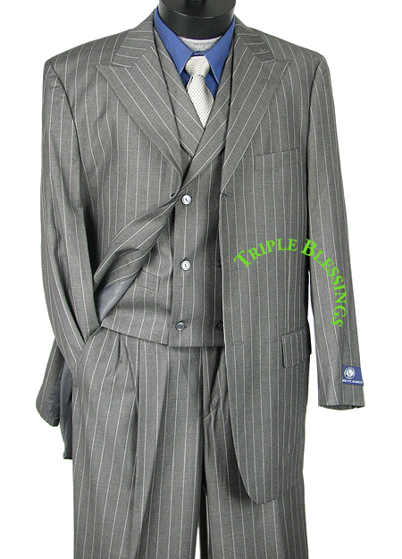 33-SHARP-3pc-MEN-WIDE-LEG-STRIPES-PEAK-LAPELS-ZOOT-SUIT-GRAY-38R-62L-hso