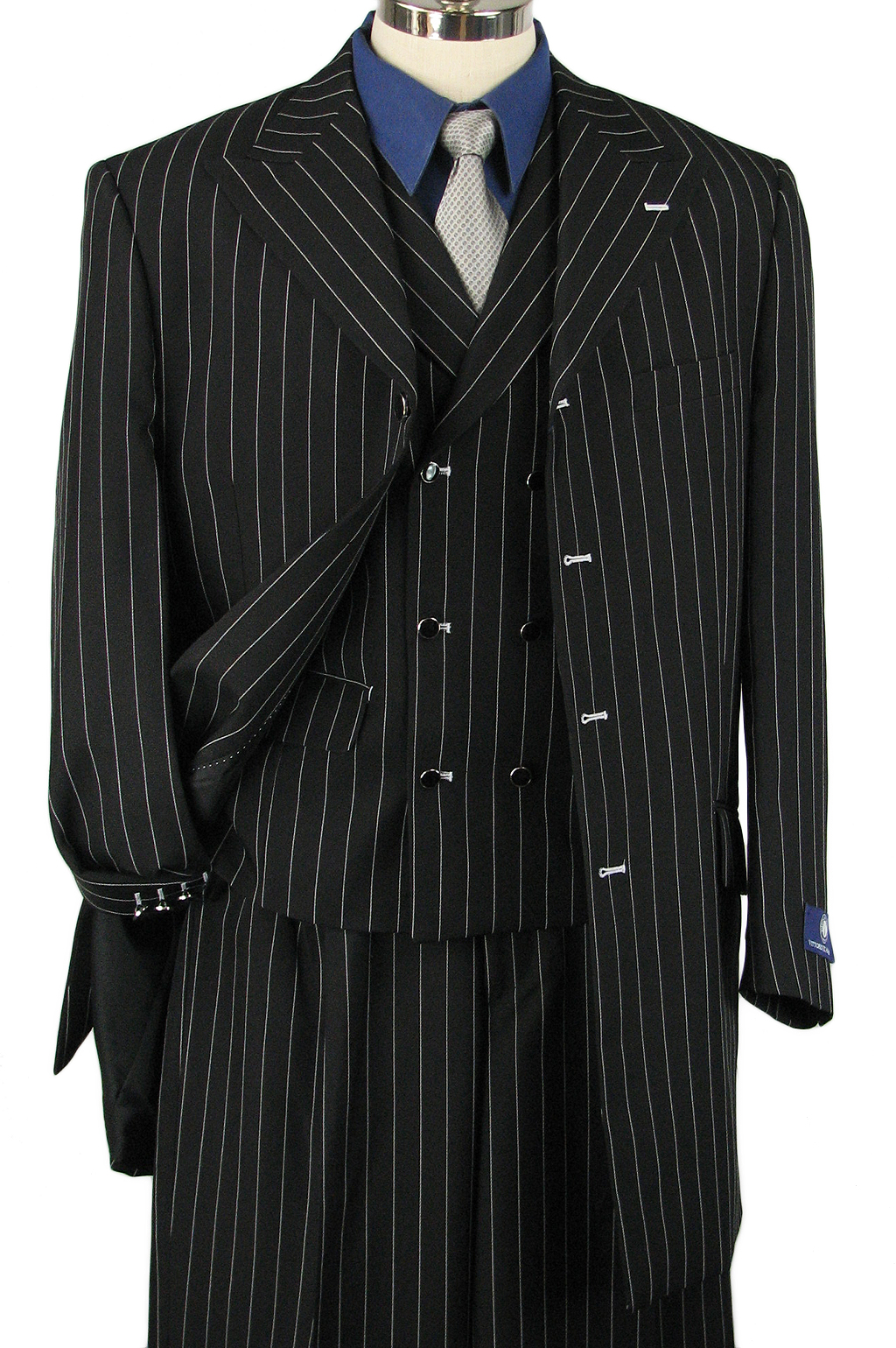 "FASHION 34"" MEN 3pc BOLD STRIPE WIDE-LEG ZOOT SUIT BLACK/WHITE 36R"