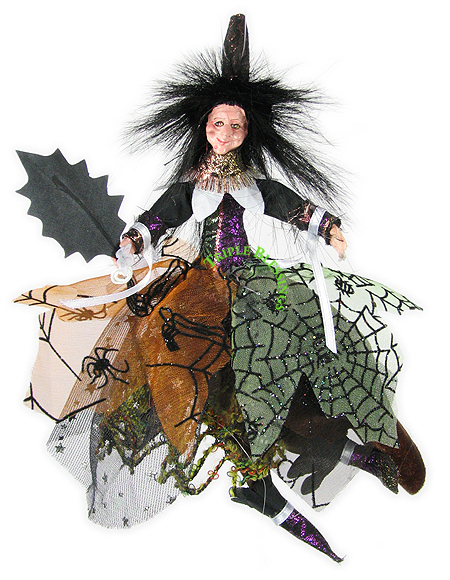 8-HALLOWEEN-WITCH-POSEABLE-ORNAMENT-RICH-DETAILED-803