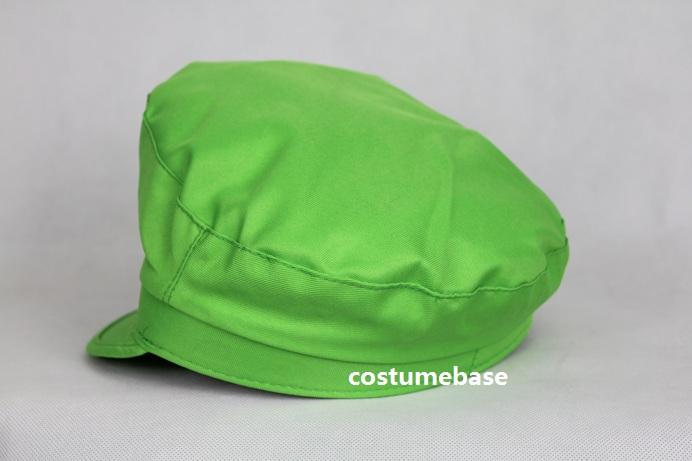 2PCS Super Mario Bros Luigi ADULT Hat Cap Costume Flat Top Taper down