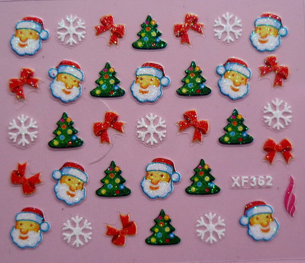 24 X Colorful Father Christmas Tree Snow Design 3D Nail Art Stickers